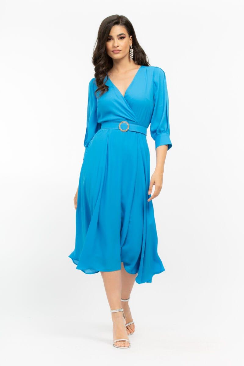 Φόρεμα Plus Size κρουαζέ με ζώνη