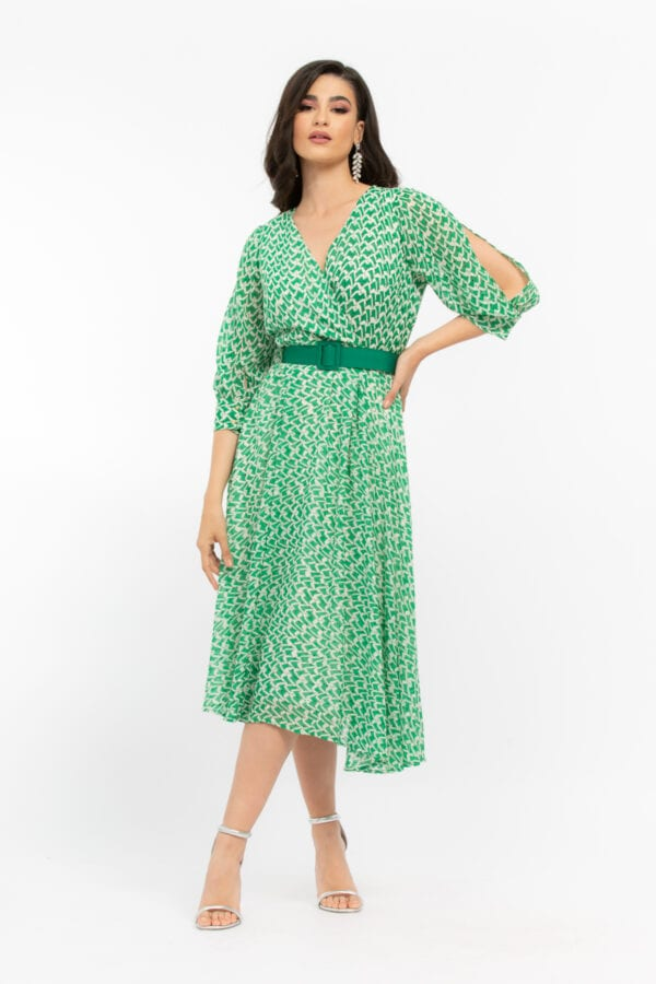 Φόρεμα Plus Size κρουαζέ με γεωμετρικά μοτίβα