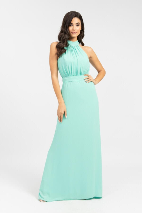 Φόρεμα MAXI με δέσιμο στο λαιμό βεραμάν