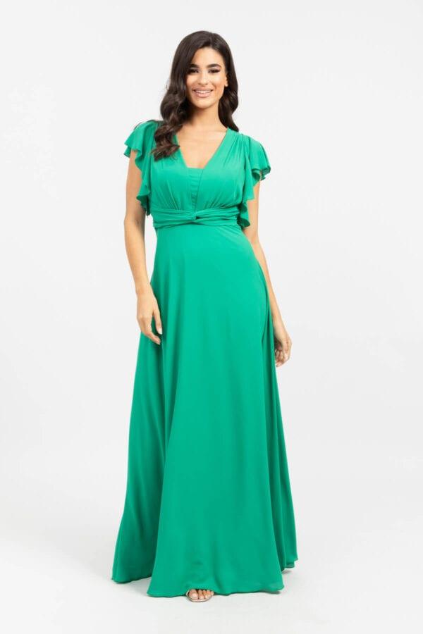 Φόρεμα Μακρύ με βολάν στα μανίκια πράσινο