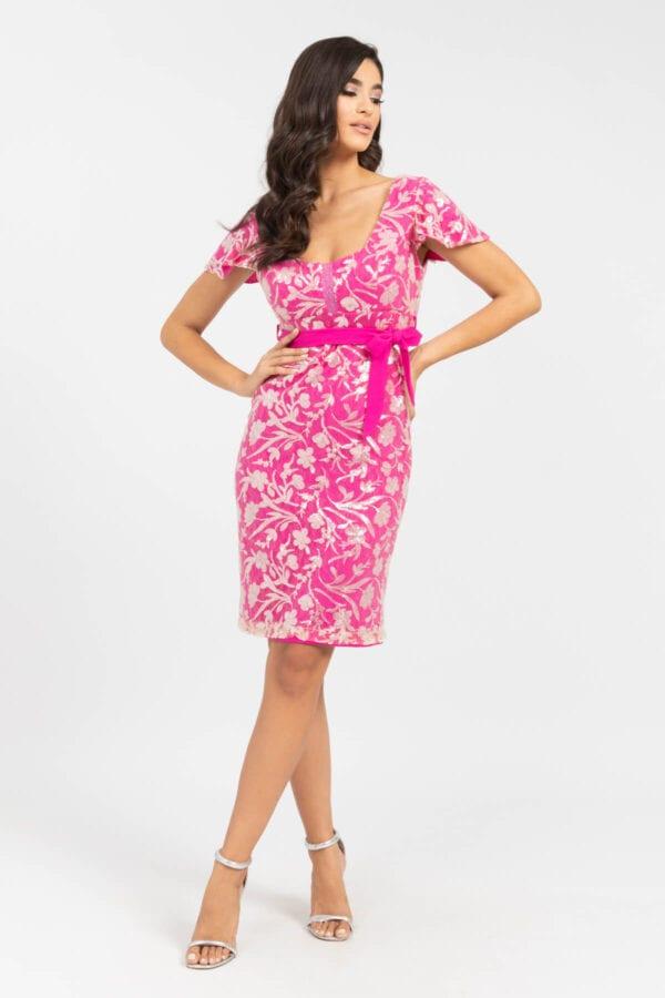 Φόρεμα με δαντέλα φουξ